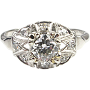 Platinum Art Deco Diamond Engagement Ring 0.59 Carats, BIG look, circa 1920's