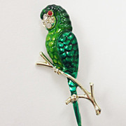 Vintage Costume Green Parrot Enameled Brooch with Rhinestone Accents