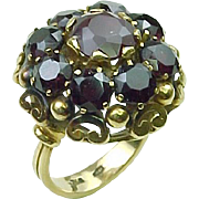 BIG Retro 6.0 ctw Bohemian Garnet 18k Gold Ring