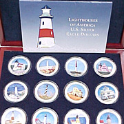 US Silver Eagle Dollar Collectors Set Light Houses Of America