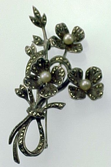 Sterling Marcasite Cultured Pearl Floral Brooch Louis Stern Co