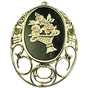 Victorian Era Ornate Pendant Flower Basket Motif Onyx and 10k Yellow Gold