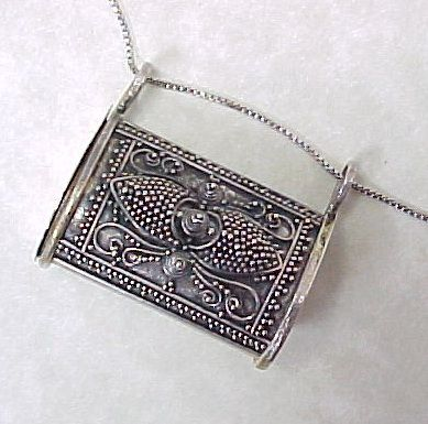 Vintage cannetille 800 silver prayer box pill box pendant with vintage cannetille 800 silver prayer box pill box pendant with chain sold ruby lane mozeypictures Gallery