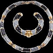 Sterling Silver Gold Vermeil Enamel Set ~ Necklace and Cuff Bracelet