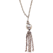 Sterling Silver Bead Tassel Necklace ~ 20""
