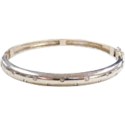 "Sterling Silver Faux Diamond Hinged Bangle Bracelet ~ 7 1/4"""