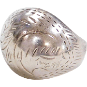 Sterling Silver Etched Dome Ring