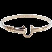 "Sterling Silver and Gold Plated Hook Bangle Bracelet ~ 6 3/4"""