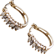 Sterling Silver Gold Plated White Topaz and Diamond Hoop Earrings