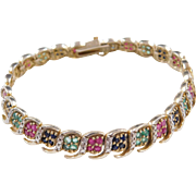 Sterling Silver and Gold Plated Natural Ruby, Sapphire, Emerald and Diamond Bracelet 7 1/4""
