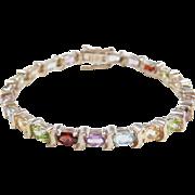 """Sterling Silver Colorful Gemstone Bracelet ~ 7"""""""