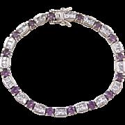 "Sterling Silver Amethyst and Faux Diamond Bracelet ~ 7 1/4"""