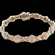 "Sterling Silver Gold Plated Diamond Bracelet ~ 7 1/2"""