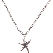 """Sterling Silver Dancing Starfish Necklace ~ 16"""""""