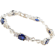 Sterling Silver Faux Diamond and Created Sapphire Bracelet ~ 7 1/4""