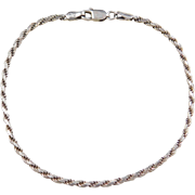Sterling Silver Diamond Cut Rope Bracelet ~ 7 1/2""