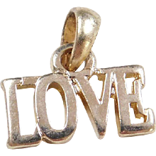 Sterling Silver Gold Plated LOVE Charm / Pendant