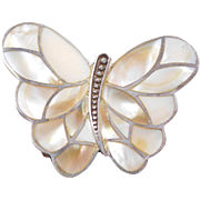Sterling Silver Mother of Pearl Butterfly Pendant