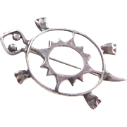 Sterling Silver Turtle Pin / Brooch