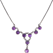 Sterling Silver Amethyst Necklace ~ 16""