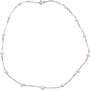 Sterling Silver Faux Pearl Necklace ~ 17""