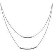 Sterling Silver Double Strand Bar Necklace