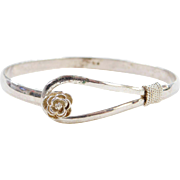 Sterling Silver Bangle Bracelet with Flower Clasp