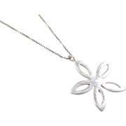 Sterling Silver Flower Necklace ~ 21""
