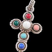 Sterling Silver Stone Cross Pendant