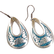 Sterling Silver Turquoise Chip Inlay Earrings ~ Mexico