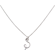 Sterling Silver Swirl Letter S Necklace ~ 16 1/2""