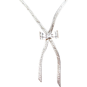 "Sterling Silver Bow Necklace ~ 16"" ~ 6.1 Grams"