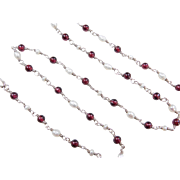 Sterling Silver Garnet and Pearl Necklace ~ 18""