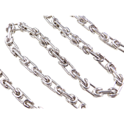 "Sterling Silver Gents Byzantine Link Chain ~ 20"" ~ 93.0 Grams"