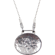 Sterling Silver Hammered Oval Necklace 16""
