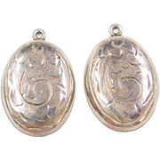 Sterling Silver Oval Etched Earring Jackets