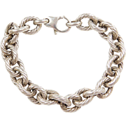 "Sterling Silver Chunky Twisted Link Bracelet ~ 8"" ~ 23.5 Grams"