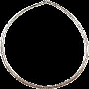 "Sterling Silver Hammered Omega Necklace 17"" ~ 17.6 Grams"
