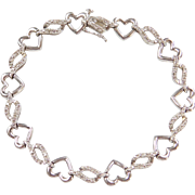 Sterling Silver Heart Bracelet with Diamond Accents 7 1/2""
