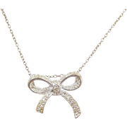Sterling Silver Faux Diamond Bow Necklace ~ 18""