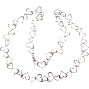"Fun Sterling Silver Long Heart Link Necklace ~ 29"" ~ 13.8 Grams"