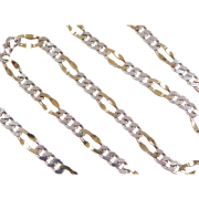 "Sterling Silver and Gold Vermeil Fancy Figaro Link Chain ~ 20"" ~ 24.1 Grams"