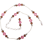 Sterling Silver Pink, Brown and Gray Glass Bead Necklace