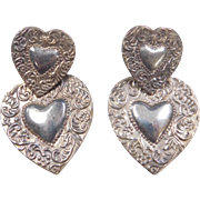 Vintage Sterling Silver BIG Heart Earrings