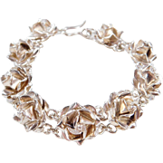 Sterling Silver Rose Flower Bracelet ~ 7 1/4""