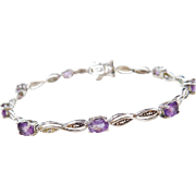 Sterling Silver Amethyst and Diamond Bracelet ~ 7 1/4""