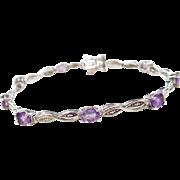 "Sterling Silver Amethyst and Diamond Bracelet ~ 7 1/4"""