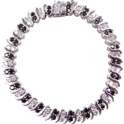 Sterling Silver Black and White Faux Diamond Bracelet ~ 6 3/4""
