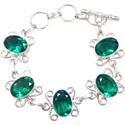 "Sterling Silver Green Glass Bracelet ~ 6 1/4"" - 7 1/2"""