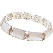 "Sterling Silver Mother of Pearl Bracelet ~ 7 1/2"""
